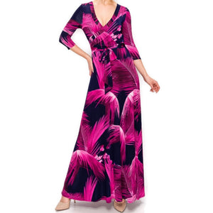 Janette Fashion Fuchsia Feathers Faux Wrap Maxi Dress