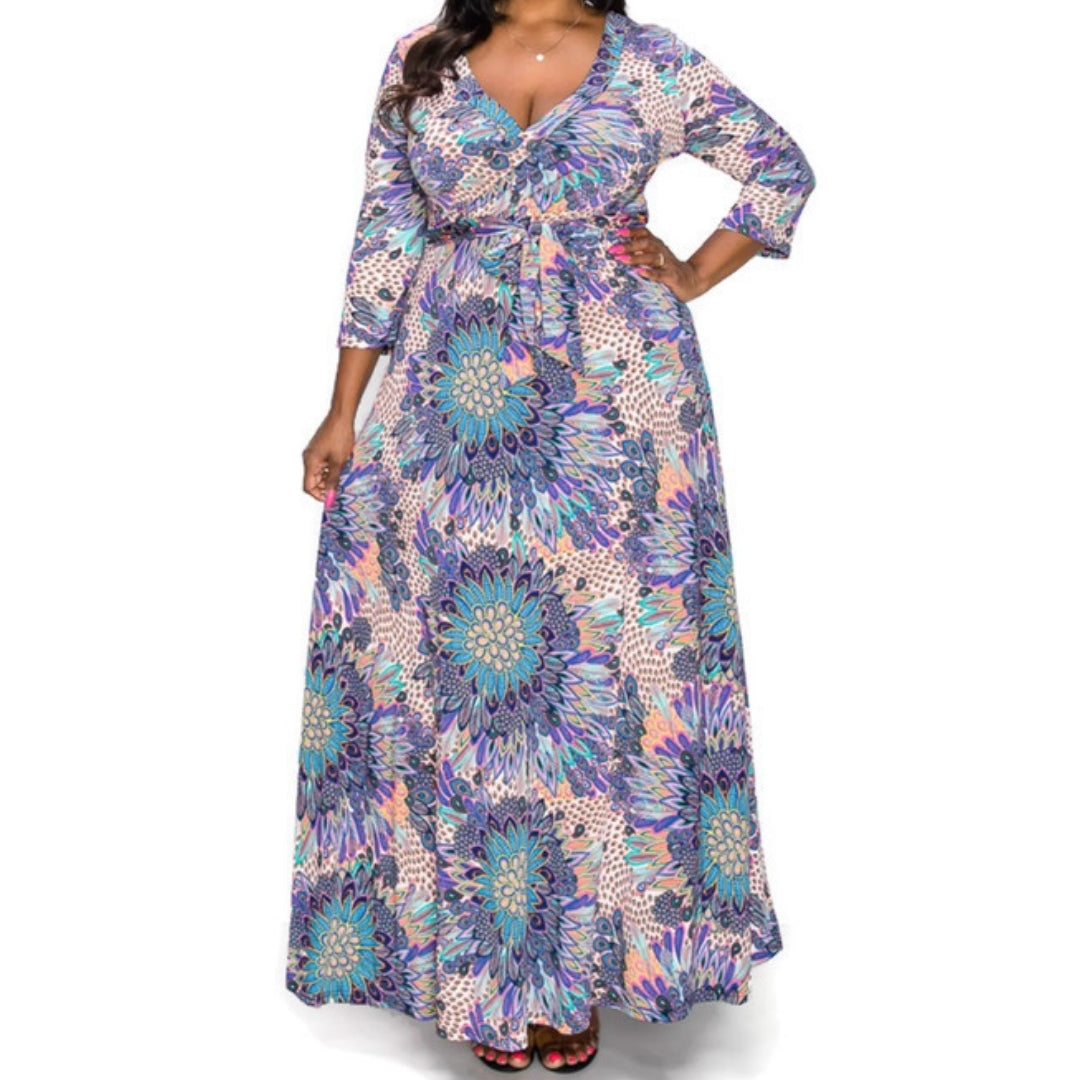 Janette Fashion Paisley Faux Wrap Maxi Plussize Dress