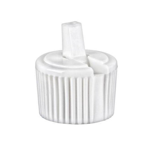 White Ribbed Dispensing Caps - Bottle Cap Size: 24-410 - Set of 25