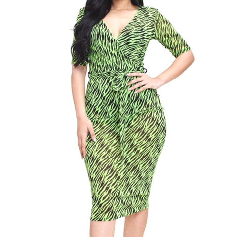 MM Neon Green Black Animal Print Mesh Bodycon Midi Dress