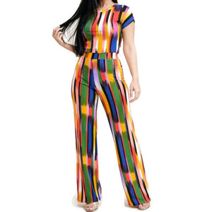 MM No Static Multi Color Crop Top Bow Tie Pant Set