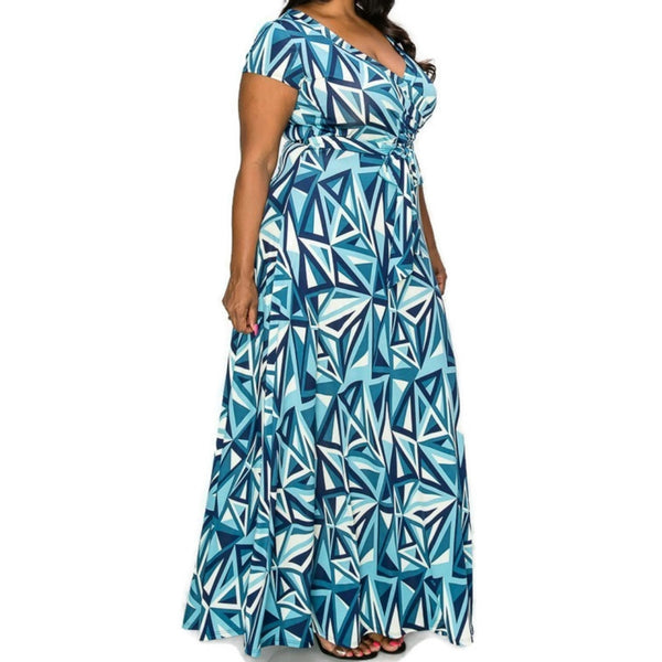 Janette Fashion Blue Mirror Faux Wrap Maxi Plussize Dress