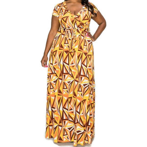 Janette Fashion Mustard Brown Mirror Faux Wrap Maxi Plussize Dress