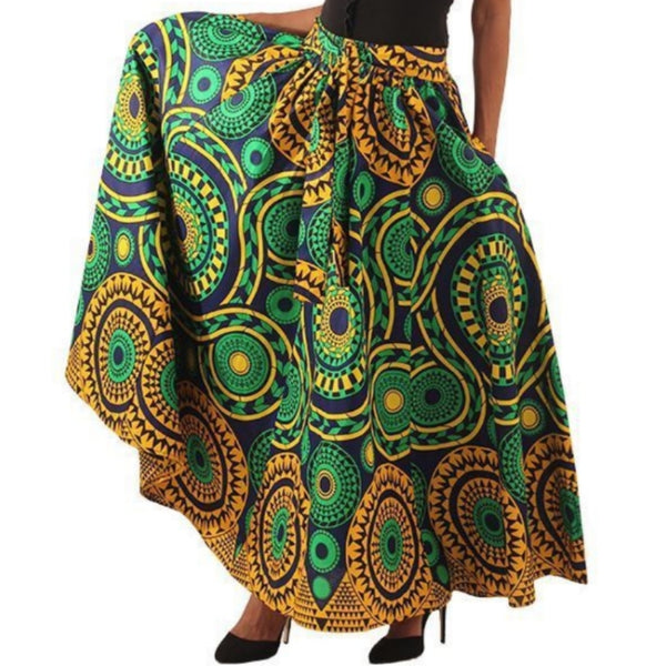 African Green Mustard Blue Print Maxi Skirt with Matching Headwrap
