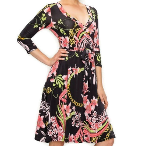 Black Pink Floral Chains Faux Wrap Knee Length 3/4 Sleeve Dress