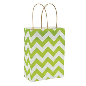 Lime White Chevron Kraft Handle Paper Party Favor Wedding Gift Bags - Set of 6