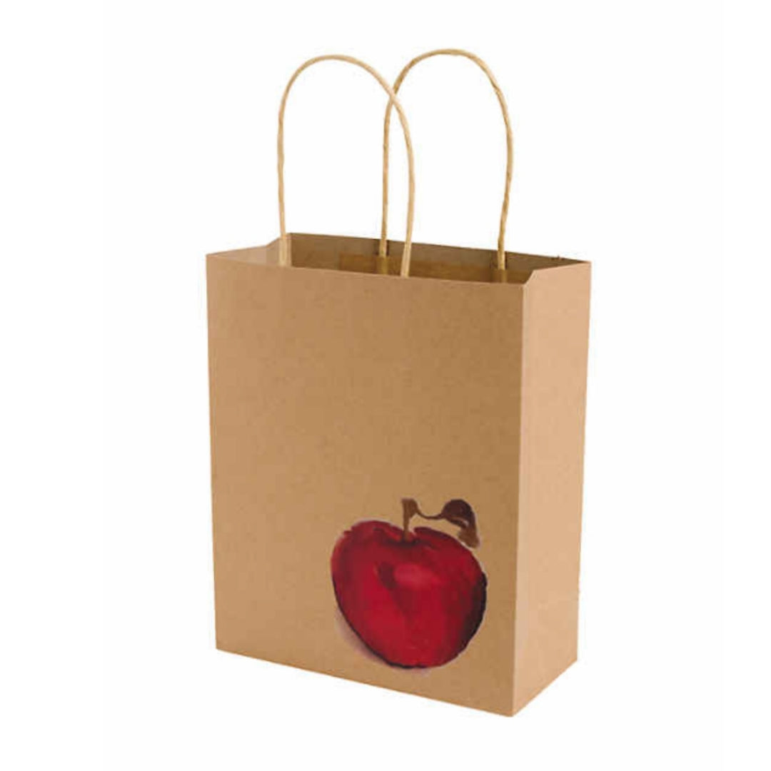 Red Apple Kraft Handle Paper Party Favor Wedding Gift Bags - Set of 3