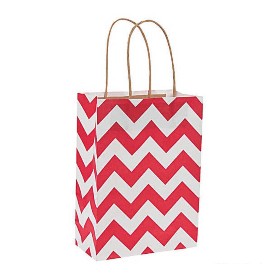 Red White Chevron Kraft Handle Paper Party Favor Wedding Gift Bags - Set of 21