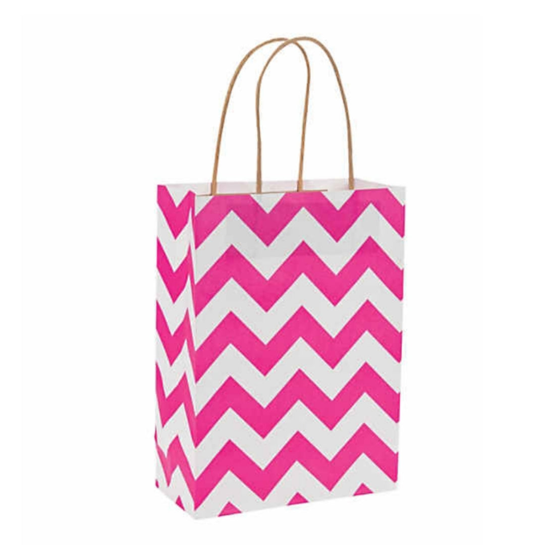 Pink White Chevron Kraft Handle Paper Party Favor Wedding Gift Bags - Set of 24