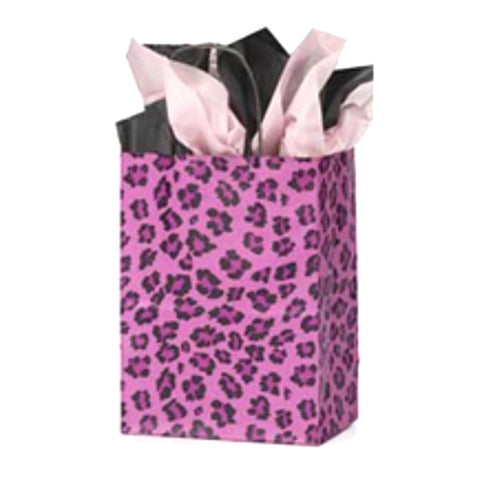Pink Leopard Kraft Handle Paper Party Favor Wedding Gift Bags - Set of 19