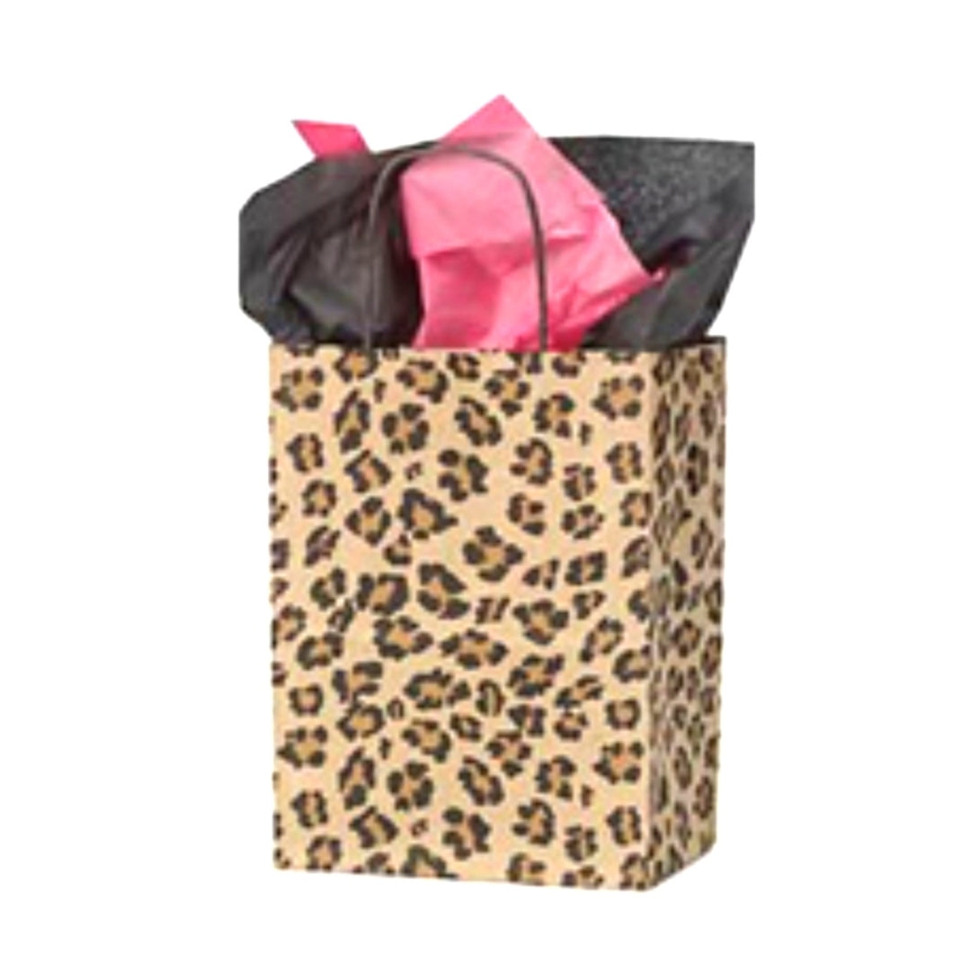 Brown Leopard Kraft Handle Paper Party Favor Wedding Gift Bags - Set of 6