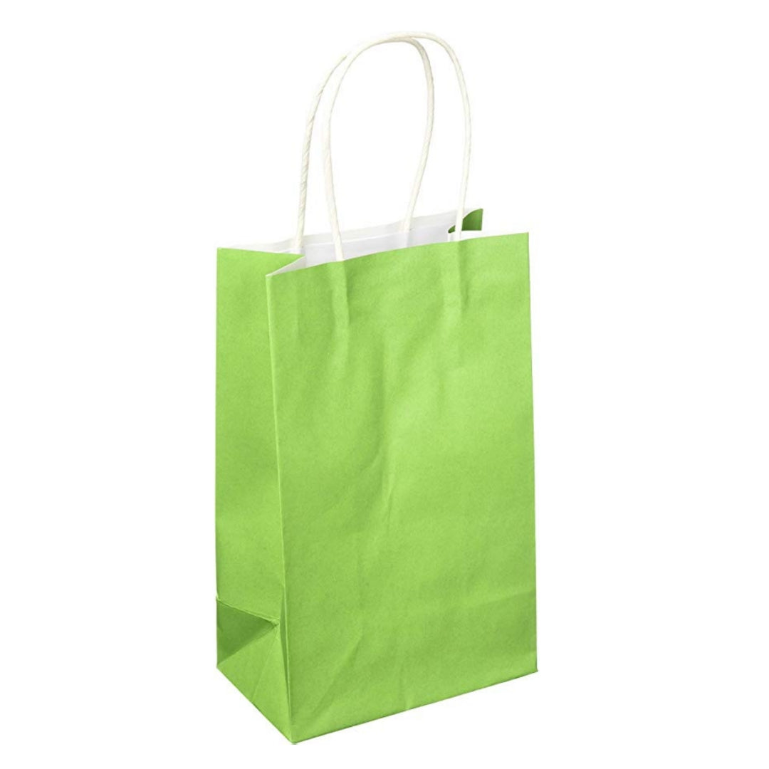 Lime Green Kraft Handle Paper Party Favor Wedding Gift Bags - Set of 8