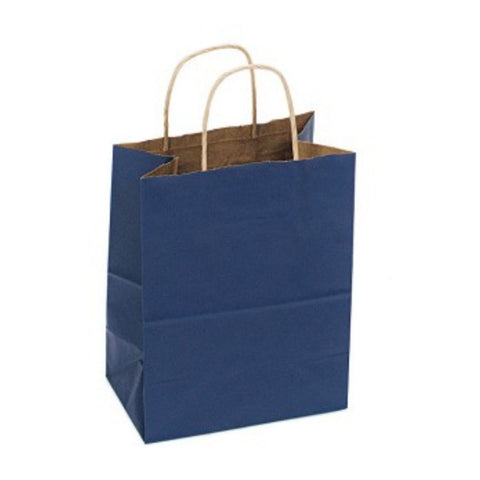Navy Blue Kraft Handle Paper Party Favor Wedding Gift Bags - Set of 8