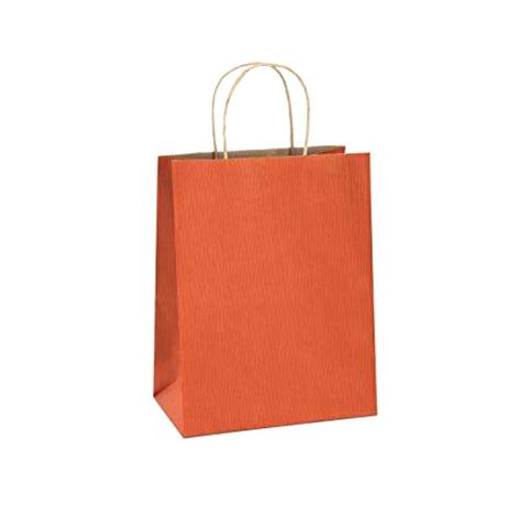 Orange Kraft Handle Paper Party Favor Wedding Gift Bags - Set of 10