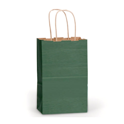 Forest Green Kraft Handle Paper Party Favor Wedding Gift Bags - Set of 8