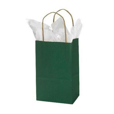 Green Kraft Handle Paper Party Favor Wedding Gift Bags - Set of 8