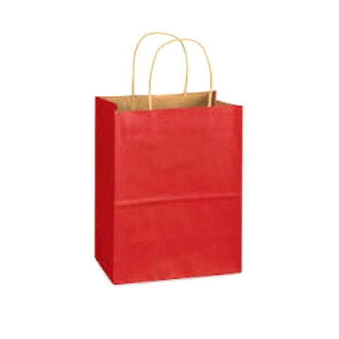 Red Kraft Handle Paper Party Favor Wedding Gift Bags - Set of 16