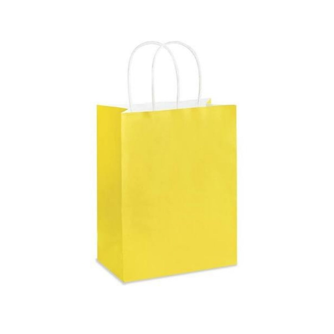 Yellow Kraft Handle Paper Party Favor Wedding Gift Bags - Set of 8