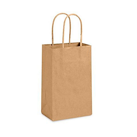 Brown Kraft Handle Paper Party Favor Wedding Gift Bags - Set of 25