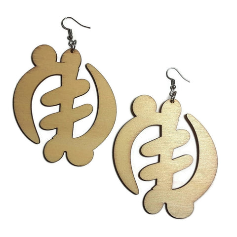 AFRICAN ADINKRA SYMBOL Unfinished Ready to Decorate Natural Wood Earrings - Set of 3 Pairs