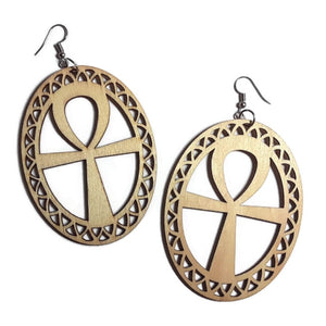 ANKH Unfinished Ready to Decorate Natural Wood Earrings - Set of 3 Pairs