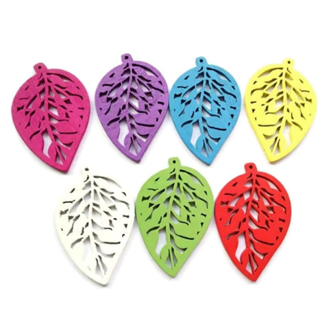 LEAVES MULTICOLOR Ready to Decorate Wood Earrings - Set of 52