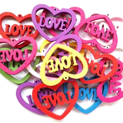 LOVE HEART MULTICOLOR Ready to Decorate Wood Earrings - Set of 50