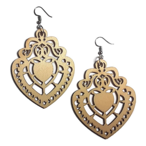 CHANDELIER HEART Unfinished Ready to Decorate Natural Wood Earrings - Set of 3 Pairs