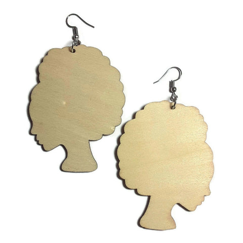AFRO LADY Unfinished Ready to Decorate Natural Wood Earrings - Set of 3 Pairs