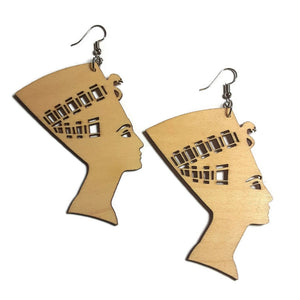 NEFERTITI Unfinished Ready to Decorate Natural Wood Earrings - Set of 3 Pairs