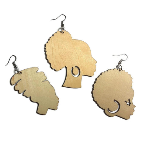 AFRO LADIES Unfinished Ready to Decorate Natural Wood Earrings - Set of 3 Pairs