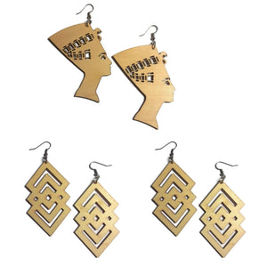 NEFERTITI DANGLE DIAMOND Unfinished Ready to Decorate Natural Wood Earrings - Set of 3 Pairs