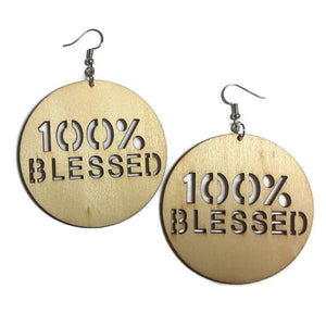 100 PERCENT BLESSED Unfinished Ready to Decorate Natural Wood Earrings - Set of 3 Pairs