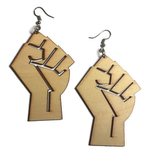 POWER FIST Unfinished Ready to Decorate Natural Wood Earrings - Set of 3 Pairs