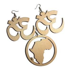 OM SYMBOL AFRICA Unfinished Ready to Decorate Natural Wood Earrings - Set of 3 Pairs