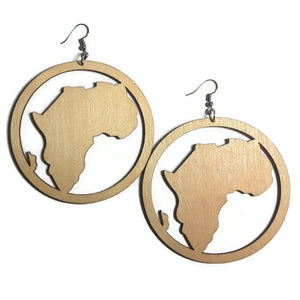 AFRICA CIRCLE Unfinished Ready to Decorate Natural Wood Earrings - Set of 3 Pairs