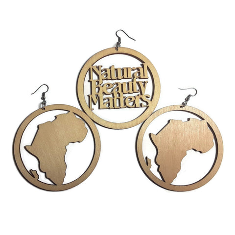 NATURAL BEAUTY AFRICA Unfinished Ready to Decorate Natural Wood Earrings - Set of 3 Pairs