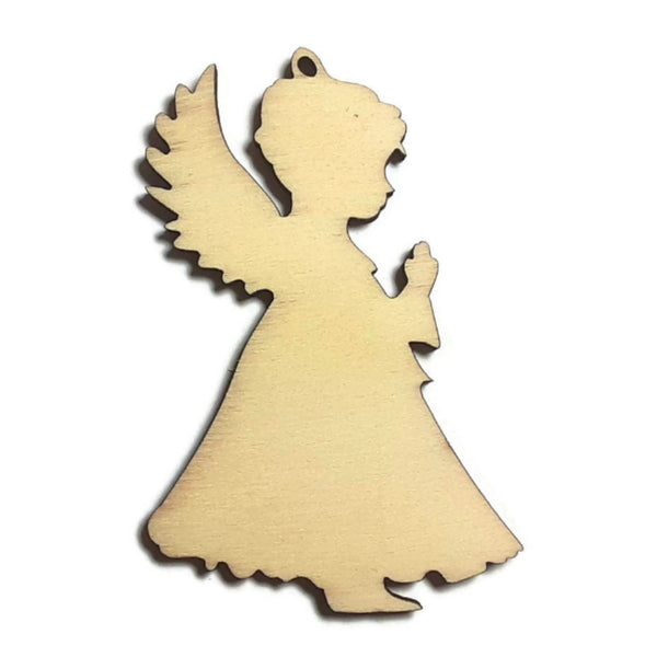 CHRISTMAS ANGEL Unfinished Ready to Decorate Natural Wood Cutout