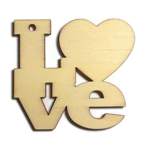 LOVE Unfinished Ready to Decorate Natural Wood Cutout