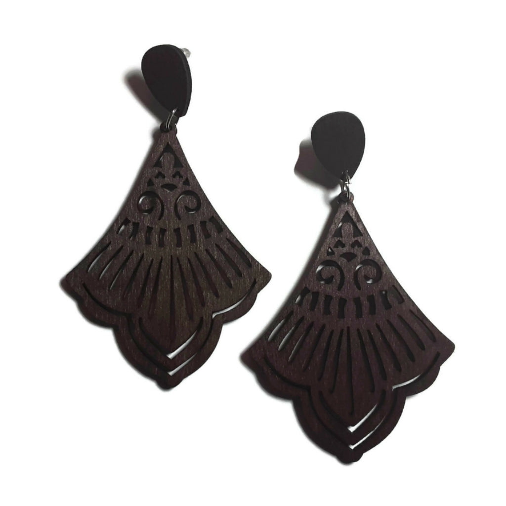 Chandelier Dark Brown Natural Statement Dangle Wood Earrings