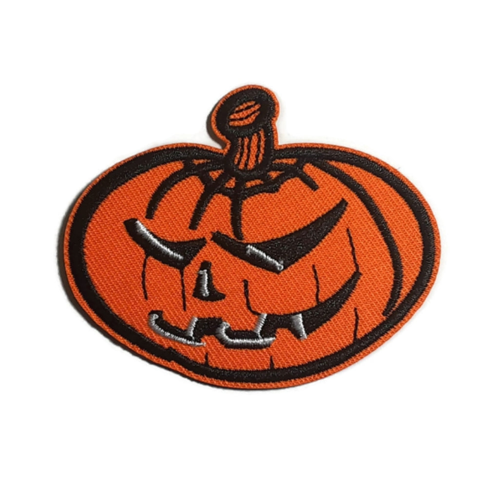 Scary Halloween Pumpkin Iron-On Patch