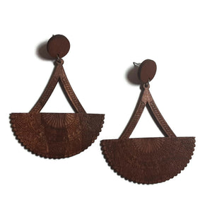 Fan Out Natural Statement Dangle Wood Earrings