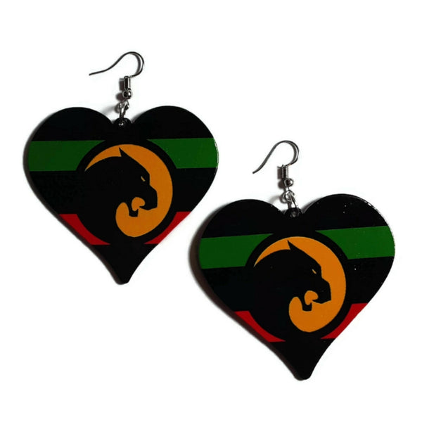 Heart Black Panther Liberation Statement Dangle Wood Earrings
