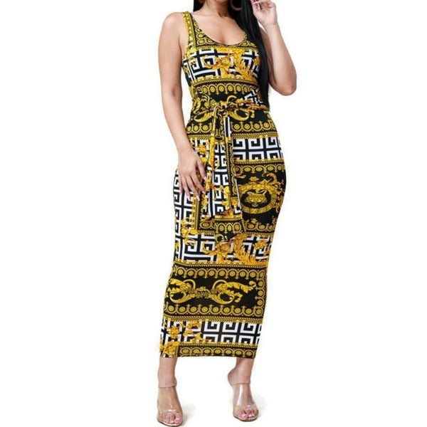 MM Gold Black Tie Waist Sleeveless Bodycon Midi Dress