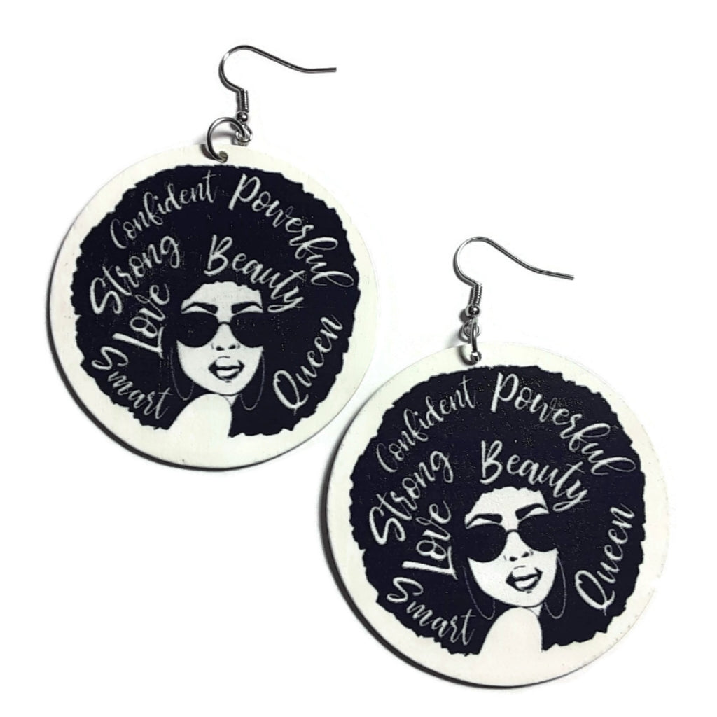 Beauty Afro Queen Statement Wood Dangle Drop Earrings
