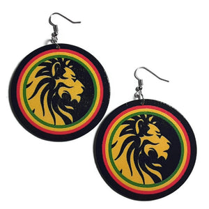 LION Rasta Statement Dangle Wood Earrings