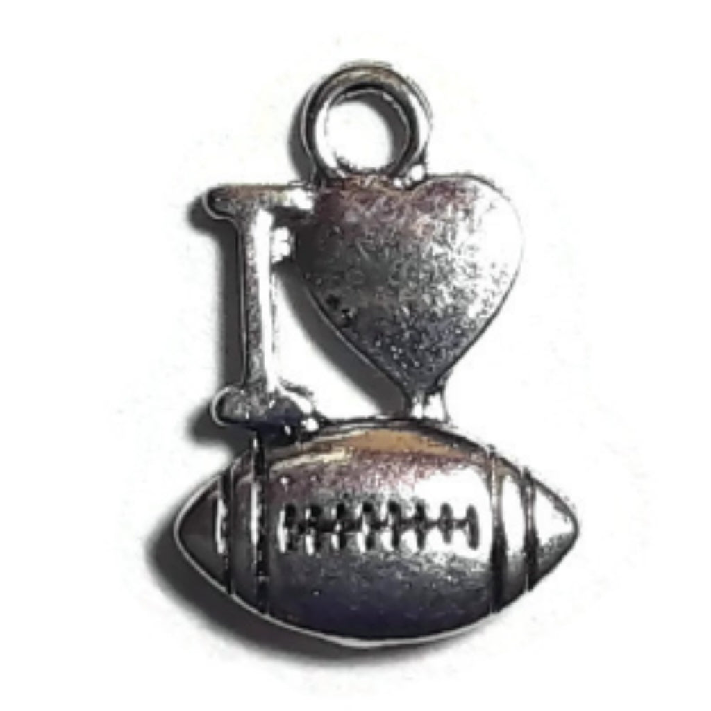 I Love Football Necklace Earring Bracelet Charms - Set of 20