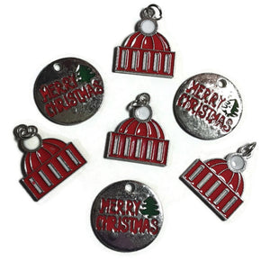 Merry Christmas Necklace Earring Bracelet Charms - Set of 7