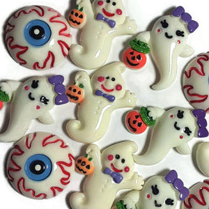Halloween Ghost Eye Flatback Cabochon - Set of 12