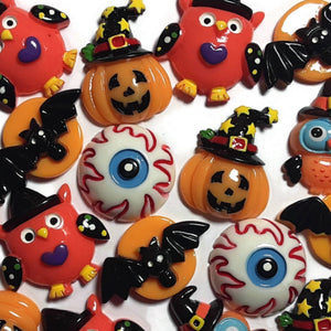 Halloween Pumpkin Owl Bat Flatback Cabochon - Set of 18